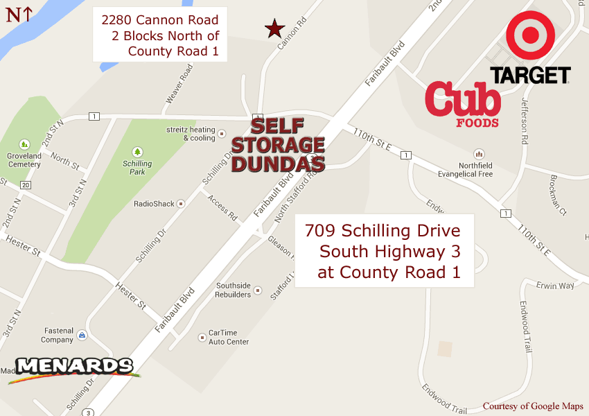 Self Storage Dundas is conveniently located at 709 Schilling Drive in Dundas, Minnesota. Just south of Target and Cub and just north of Menards and K Mart on the west side of Highway 3 at County Road 1. On the north end of Dundas just south of Northfield.